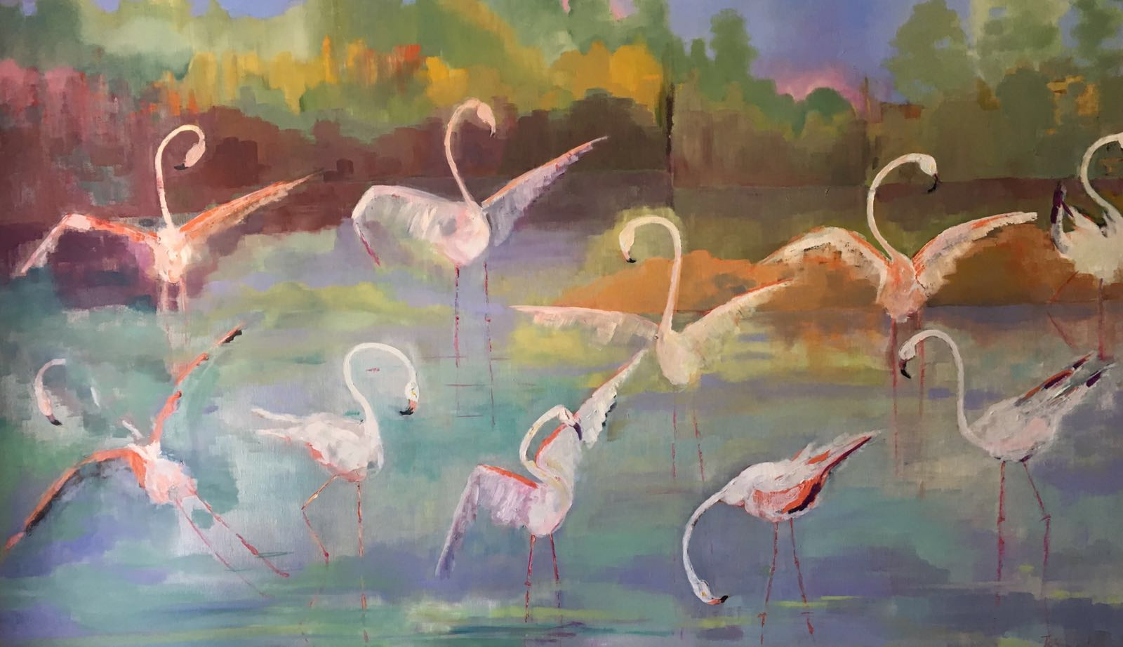 La Danse des Flaments Roses<br /> Oil on linen<br /> 89 cm x 146 cm