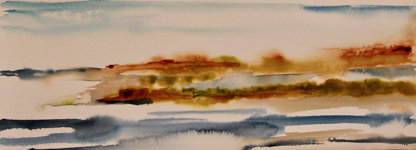 Aube sur le Marais 1<br /> Watercolour on Arches 300gsm<br /> 10 cm x 30 cm