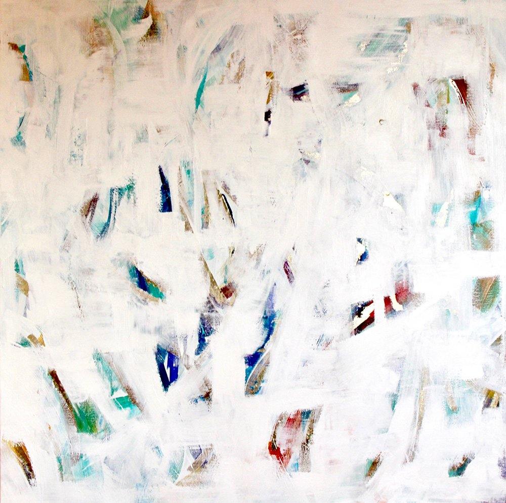 Waterfall<br /> Mixed Media on linen Acrylic, 24 carat gold gesso<br /> 100 cm x 100 cm
