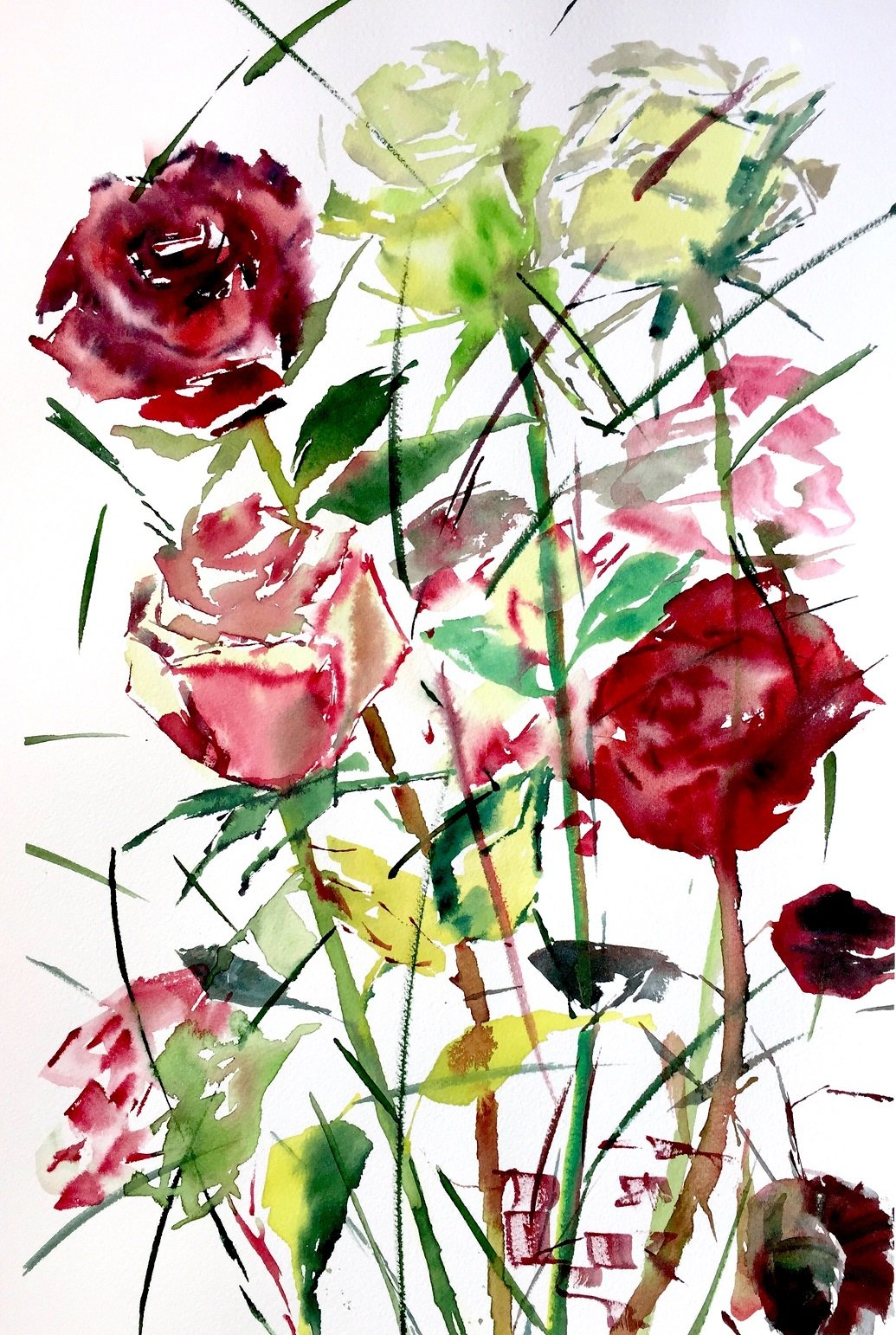 Winter Roses 4<br /> Water colour on 300 gms Arches<br /> 56 cm x 31 cm