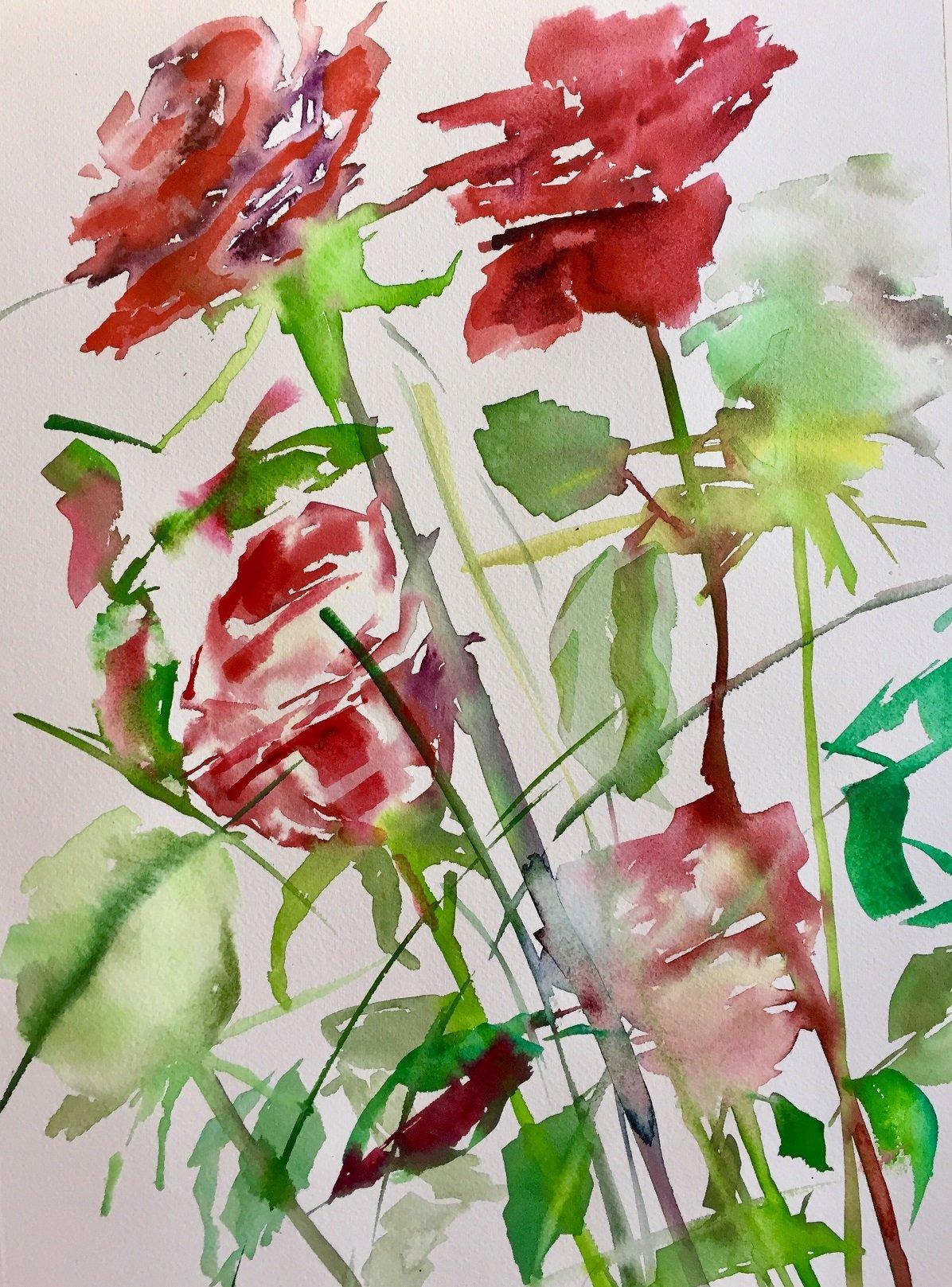 Winter Roses 9<br /> Water colour on cm 300 gms Arches<br /> 56 cm x 31cm