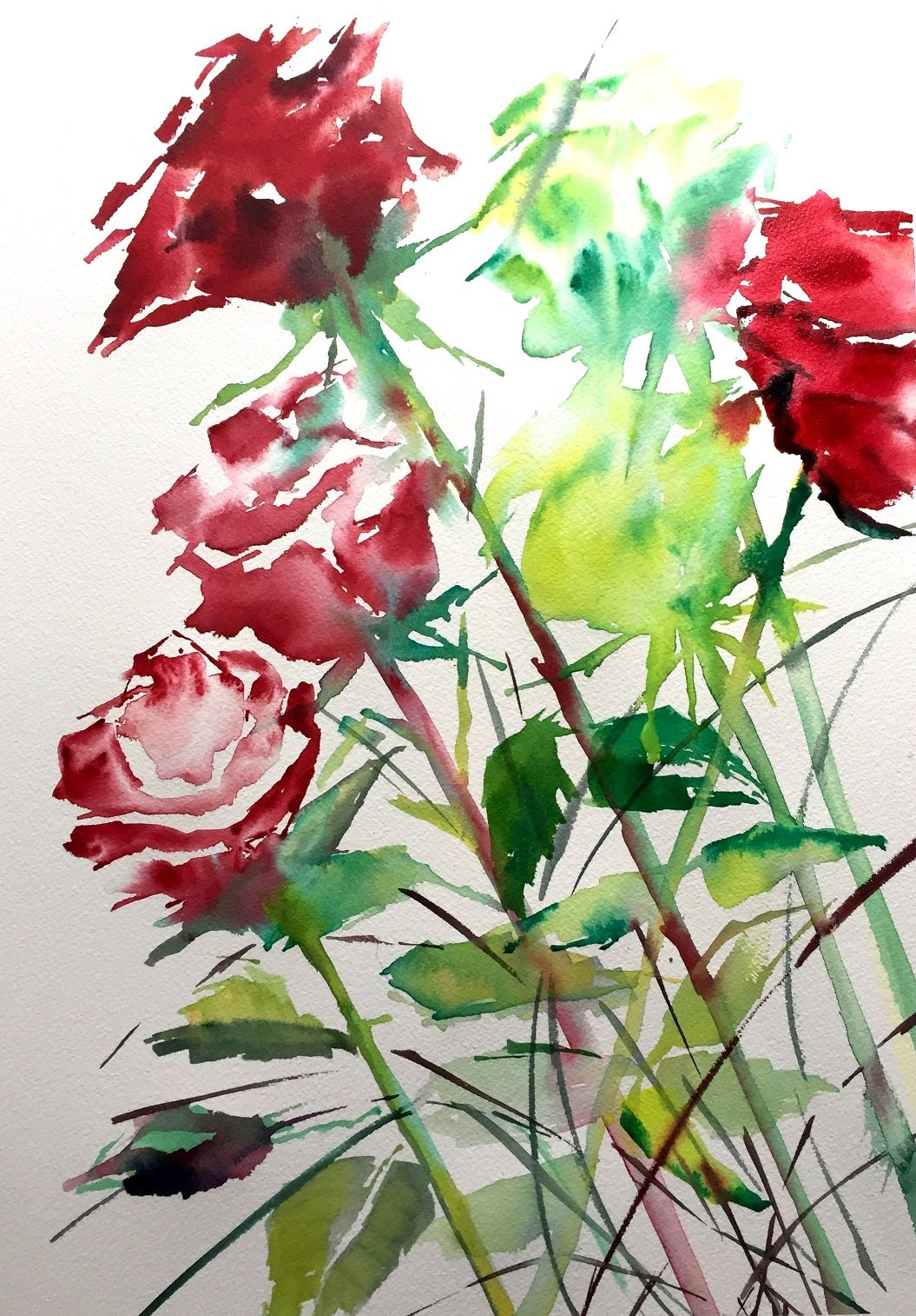 Winter Roses 1<br /> Water colour on 300 gms Arches<br /> 56 cm x 31 cm