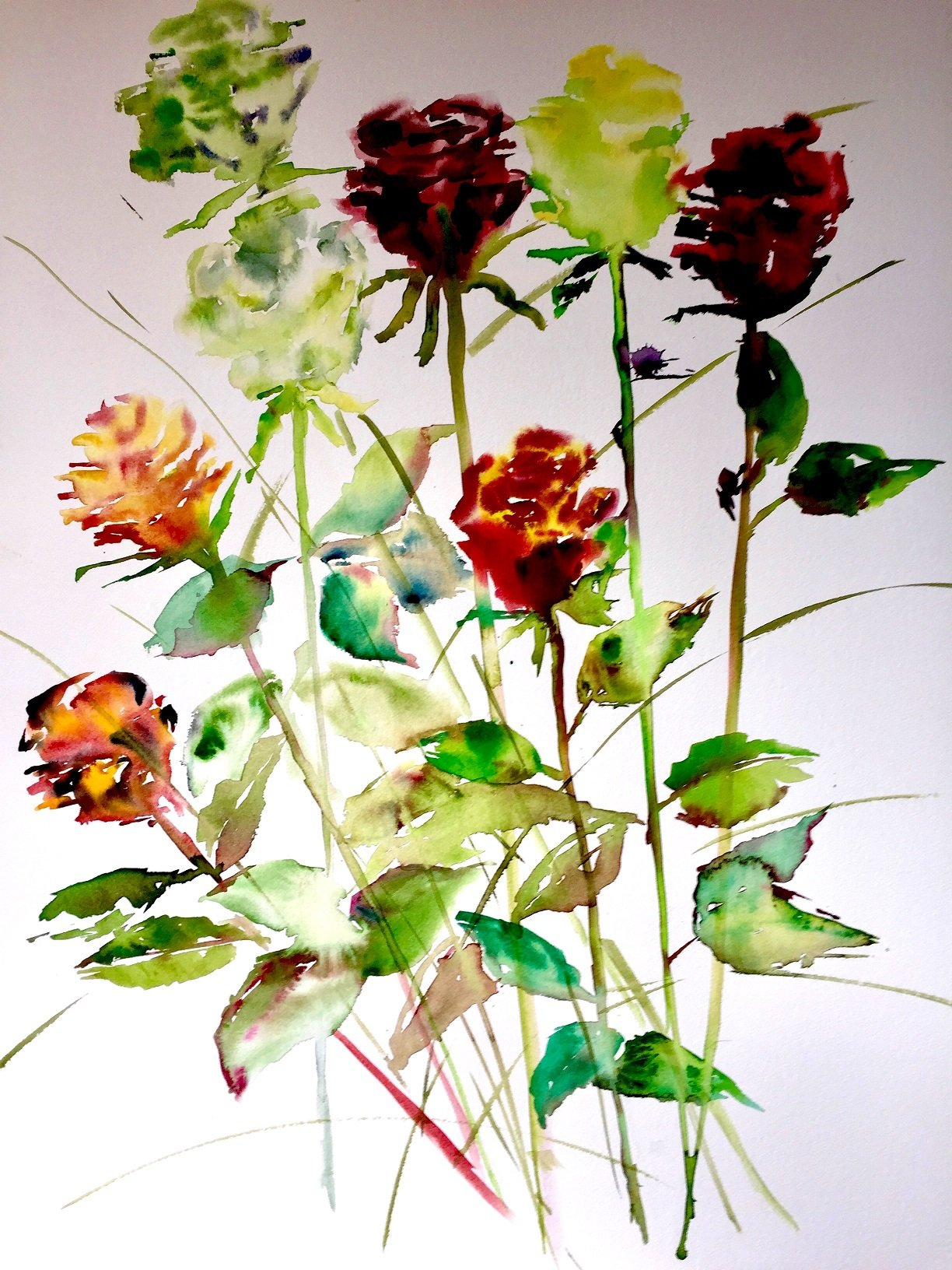 Winter Roses 6<br /> Watercolour on Arches 640 gms<br /> 76 cm x 57 cm